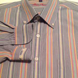 Alan Flusser Blue Stripe Button Down Shirt Sz L